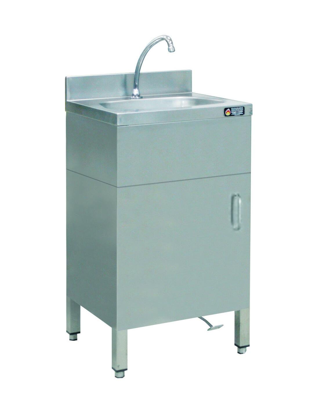Lave Mains Inox 50x50 Cm Avec Robinet A Commande Au Pied Ou Genou Pl1