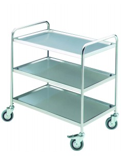 S/steel trolley on casters...